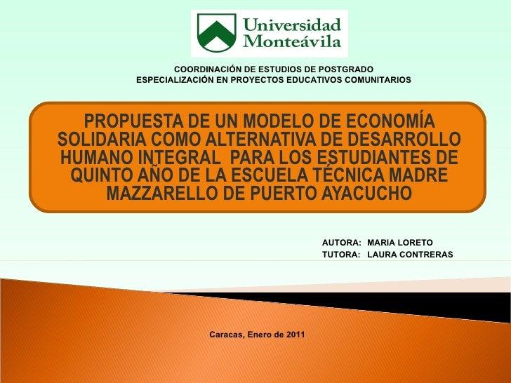 PROPUESTA DE UN MODELO DE ECONOMÍA SOLIDARIA COMO ALTERNATIVA DE DESARROLLO HUMANO INTEGRAL  PARA LOS ESTUDIANTES DE QUINT...