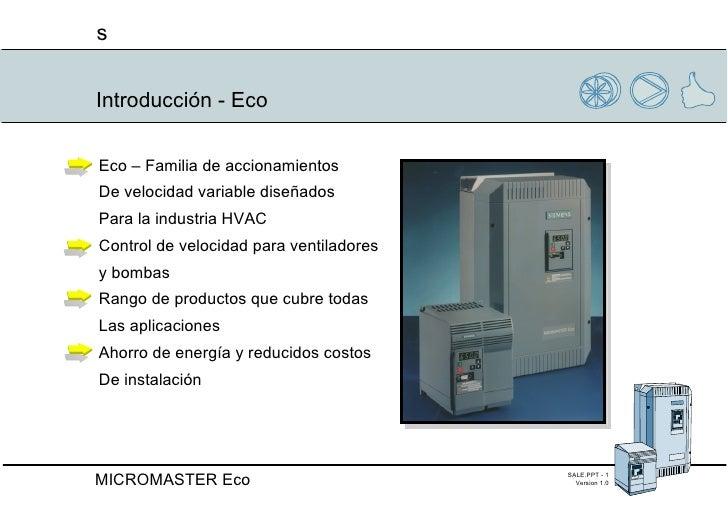 Introducción - Eco Eco – Familia de accionamientos  De velocidad variable diseñados  Para la industria HVAC Control de vel...