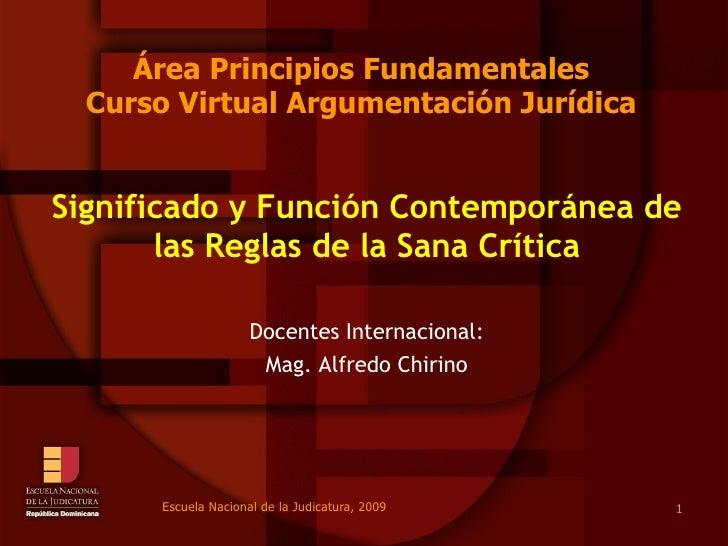Área Principios Fundamentales Curso Virtual Argumentación Jurídica Significado y Función Contemporánea de las Reglas de la...