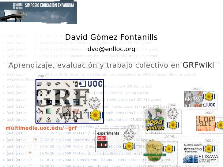 David Gómez Fontanills [email_address] 2008... 2008... 2005... 2004... 2007... Aprendizaje, evaluación y trabajo colectivo...