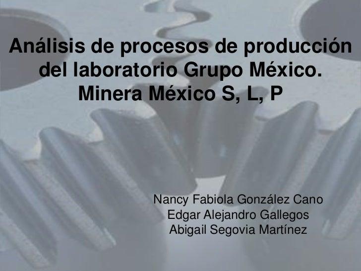 Análisis de procesos de producción  del laboratorio Grupo México.       Minera México S, L, P              Nancy Fabiola G...