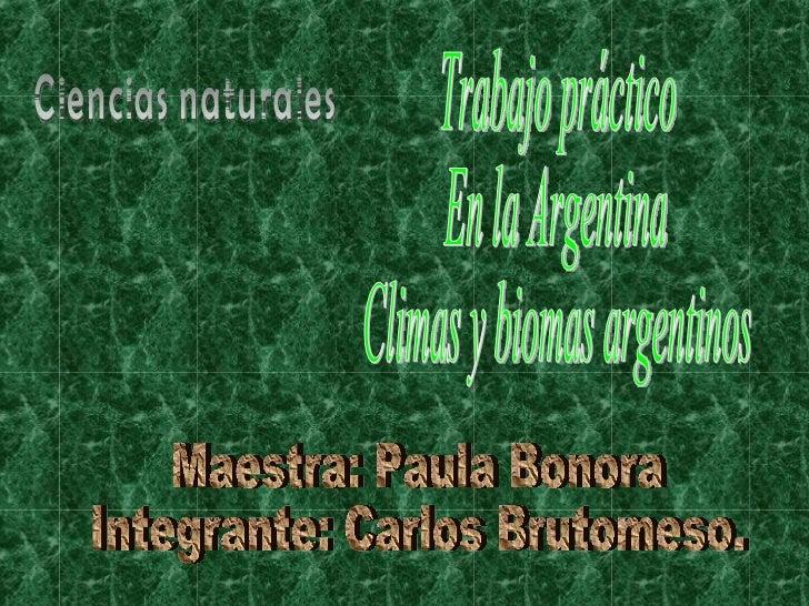 Trabajo práctico En la Argentina Climas y biomas argentinos Maestra: Paula Bonora Integrante: Carlos Brutomeso. Ciencias n...