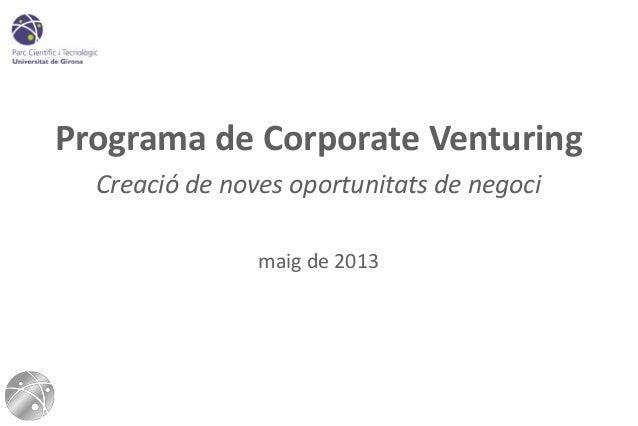 Programa de Corporate VenturingCreació de noves oportunitats de negocimaig de 2013