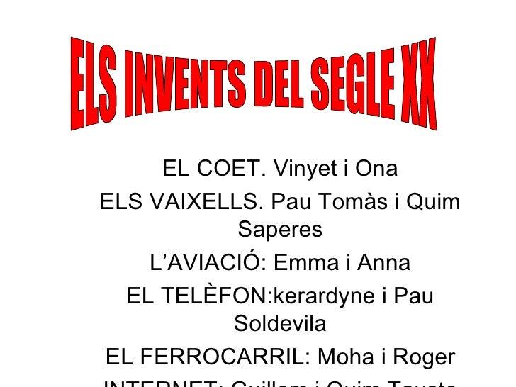 ELS INVENTS DEL SEGLE XX