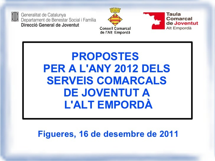 Presentació 16 de desembre 2011   serveis juvenils a la comarca