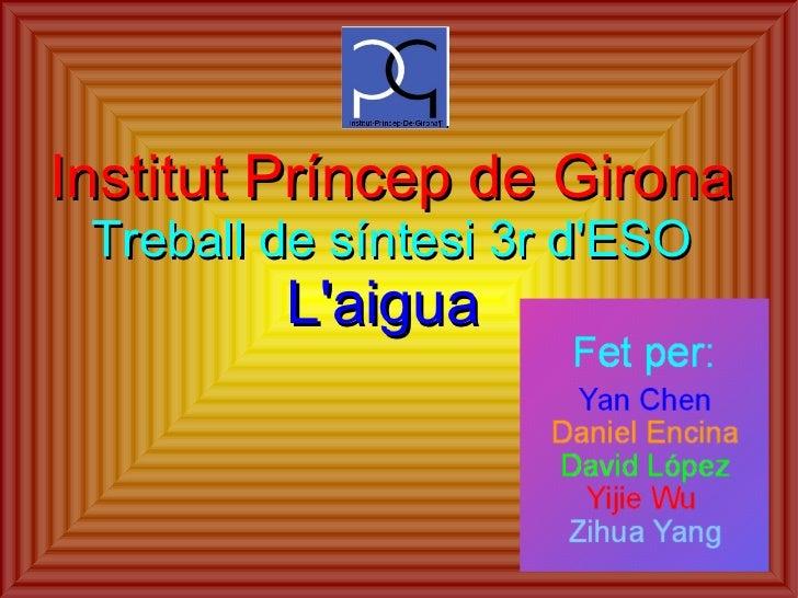 Institut Príncep de Girona Treball de síntesi 3r d'ESO L'aigua