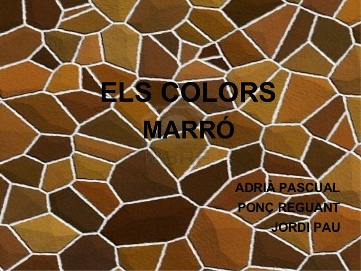 ELS COLORS <ul><li>MARRÓ </li></ul><ul><li>ADRIÀ PASCUAL </li></ul><ul><li>PONÇ REGUANT </li></ul><ul><li>JORDI PAU </li><...