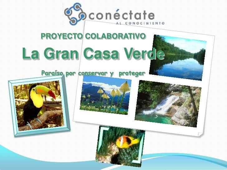 PROYECTO COLABORATIVO<br />La Gran Casa VerdeParaíso por conservar y  proteger<br />