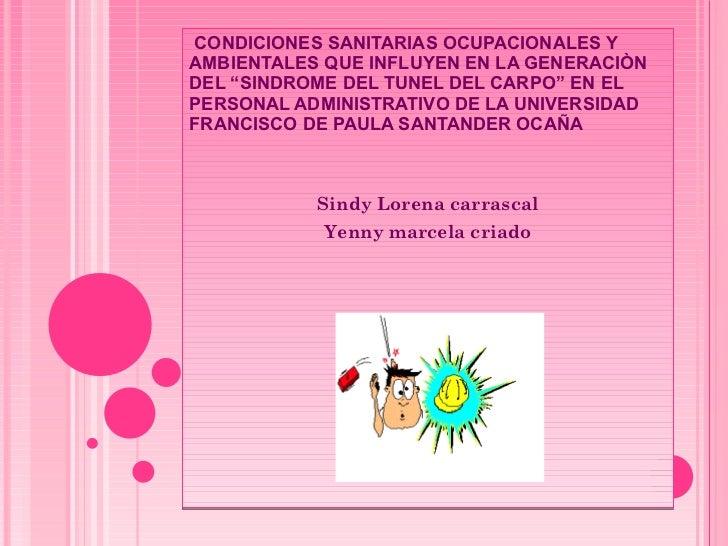 """CONDICIONES SANITARIAS OCUPACIONALES Y AMBIENTALES QUE INFLUYEN EN LA GENERACIÒN DEL """"SINDROME DEL TUNEL DEL CARPO"""" EN EL ..."""