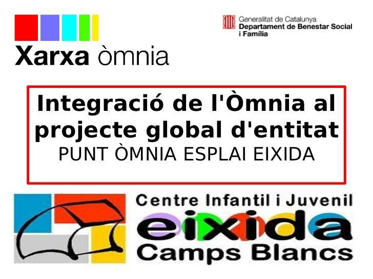 Integració de lÒmnia alprojecte global dentitat PUNT ÒMNIA ESPLAI EIXIDA