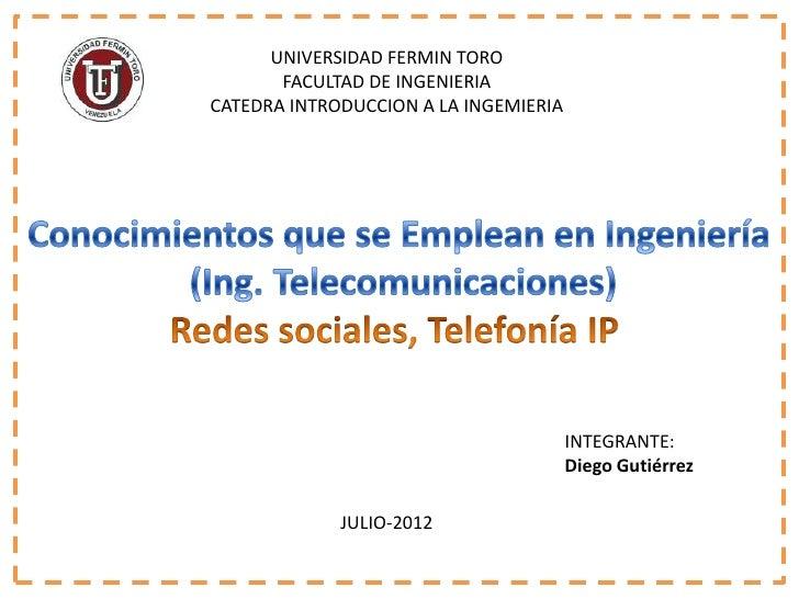 UNIVERSIDAD FERMIN TORO       FACULTAD DE INGENIERIACATEDRA INTRODUCCION A LA INGEMIERIA                                  ...