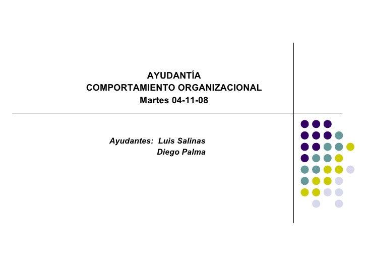 AYUDANTÍA COMPORTAMIENTO ORGANIZACIONAL Martes 04-11-08 Ayudantes:  Luis Salinas  Diego Palma