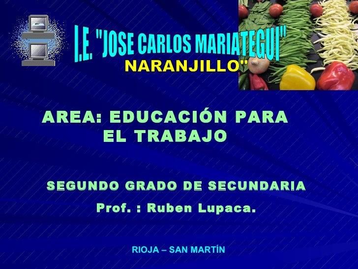 """I.E. """"JOSE CARLOS MARIATEGUI"""" SEGUNDO GRADO DE SECUNDARIA Prof. : Ruben Lupaca. RIOJA – SAN MARTÍN NARANJILLO&qu..."""