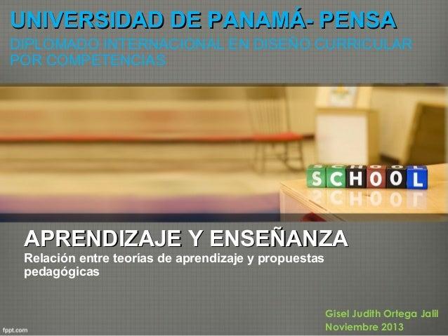 UNIVERSIDAD DE PANAMÁ- PENSA DIPLOMADO INTERNACIONAL EN DISEÑO CURRICULAR POR COMPETENCIAS  APRENDIZAJE Y ENSEÑANZA  Relac...