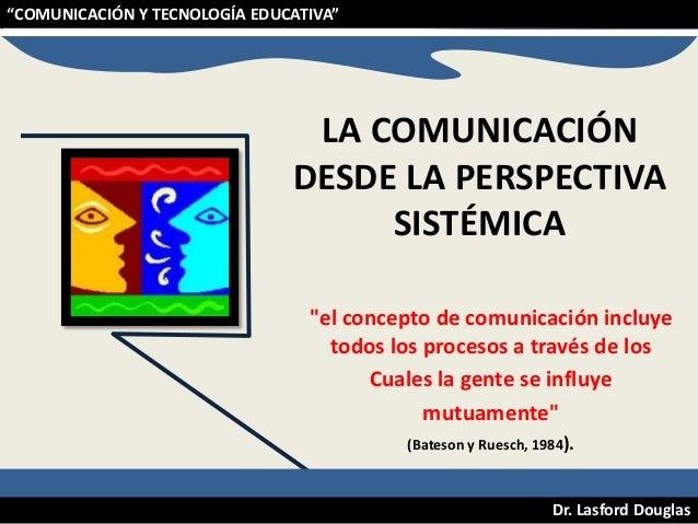 """""""COMUNICACIÓN Y TECNOLOGÍA EDUCATIVA""""  LA COMUNICACIÓN DESDE LA PERSPECTIVA SISTÉMICA """"el concepto de comunicación incluye..."""