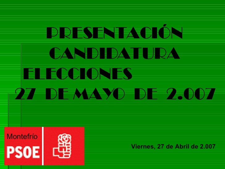 Presentación Candidatura PSOE Montefrío