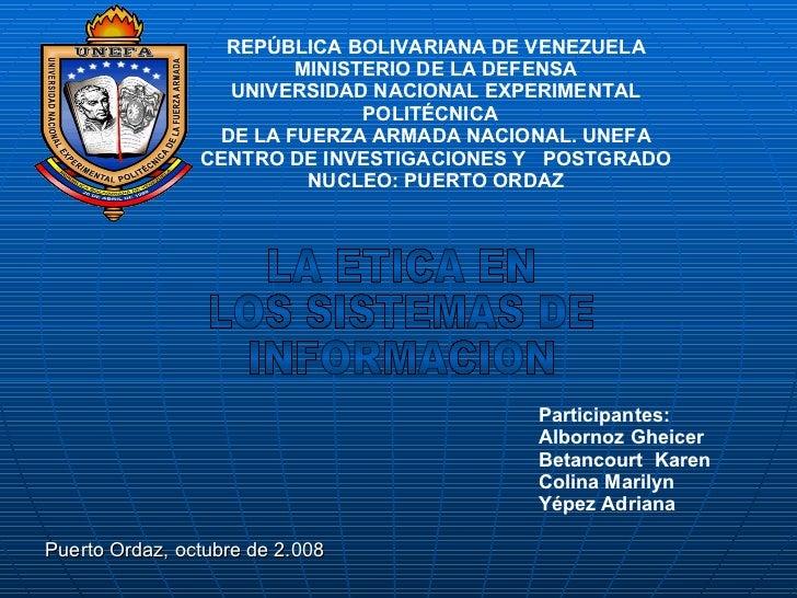 REPÚBLICA BOLIVARIANA DE VENEZUELA MINISTERIO DE LA DEFENSA UNIVERSIDAD NACIONAL EXPERIMENTAL POLITÉCNICA  DE LA FUERZA AR...