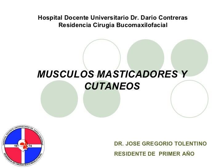 MUSCULOS MASTICADORES Y CUTANEOS DR. JOSE GREGORIO TOLENTINO RESIDENTE DE  PRIMER AÑO Hospital Docente Universitario Dr. D...