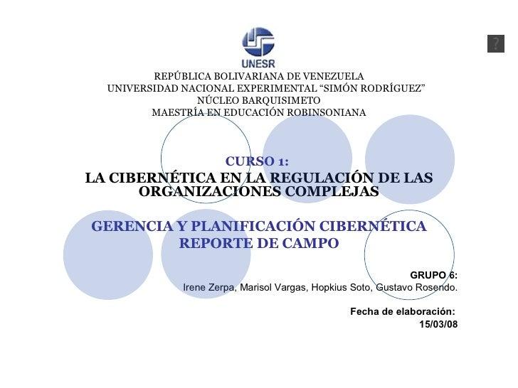 "REPÚBLICA BOLIVARIANA DE VENEZUELA   UNIVERSIDAD NACIONAL EXPERIMENTAL ""SIMÓN RODRÍGUEZ"" NÚCLEO BARQUISIMETO MAESTRÍA EN E..."