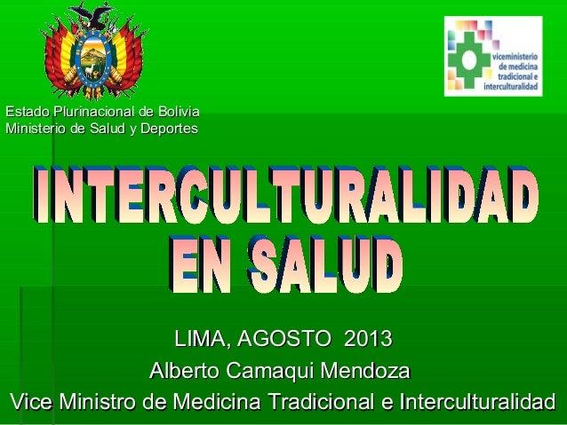 Estado Plurinacional de BoliviaEstado Plurinacional de Bolivia Ministerio de Salud y DeportesMinisterio de Salud y Deporte...
