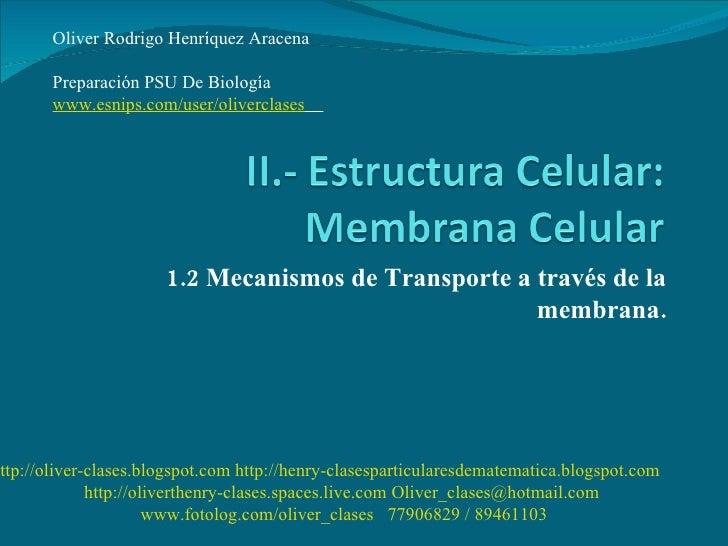 1.2 Mecanismos de Transporte a través de la membrana. Oliver Rodrigo Henríquez Aracena  Preparación PSU De Biología  www.e...
