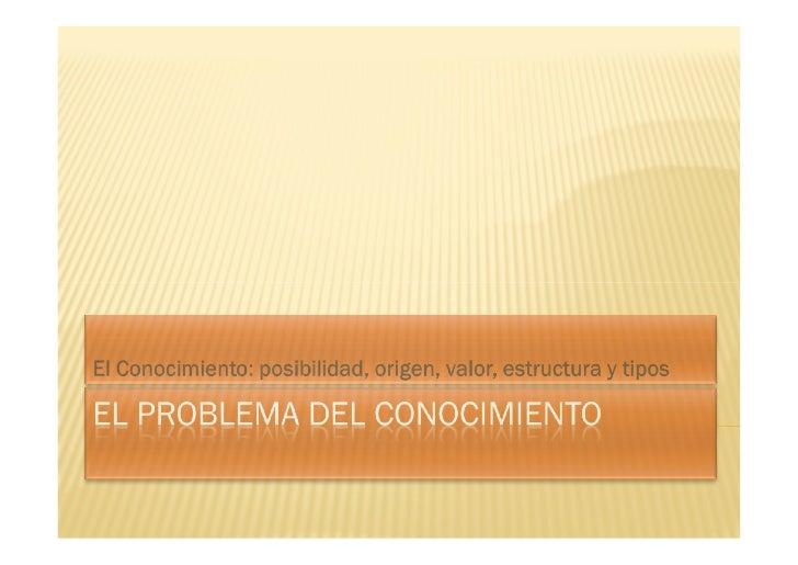 ¿CUÁL ES EL PROBLEMA DEL CONOCIMIENTO?                           ¿Estructura?                          ¿Posibilidad?      ...
