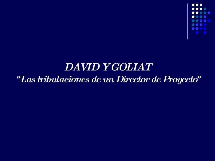 """DAVID Y GOLIAT  """" Las tribulaciones de un Director de Proyecto """""""