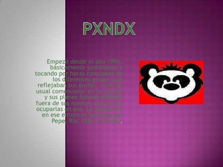 PXNDX<br />Empezó desde el año 1996, básicamente juntándose y tocando por horas canciones de los diferentes grupos que ref...