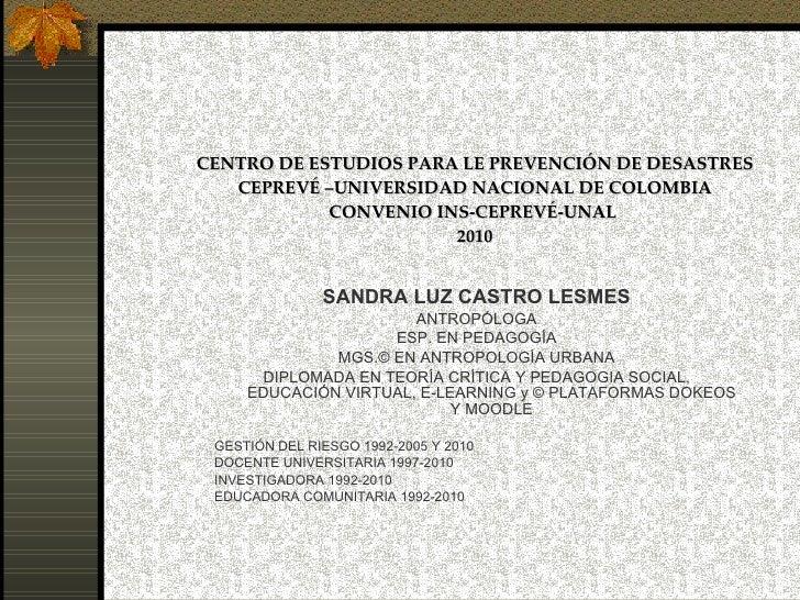 CENTRO DE ESTUDIOS PARA LE PREVENCIÓN DE DESASTRES CEPREVÉ –UNIVERSIDAD NACIONAL DE COLOMBIA CONVENIO INS-CEPREVÉ-UNAL  20...