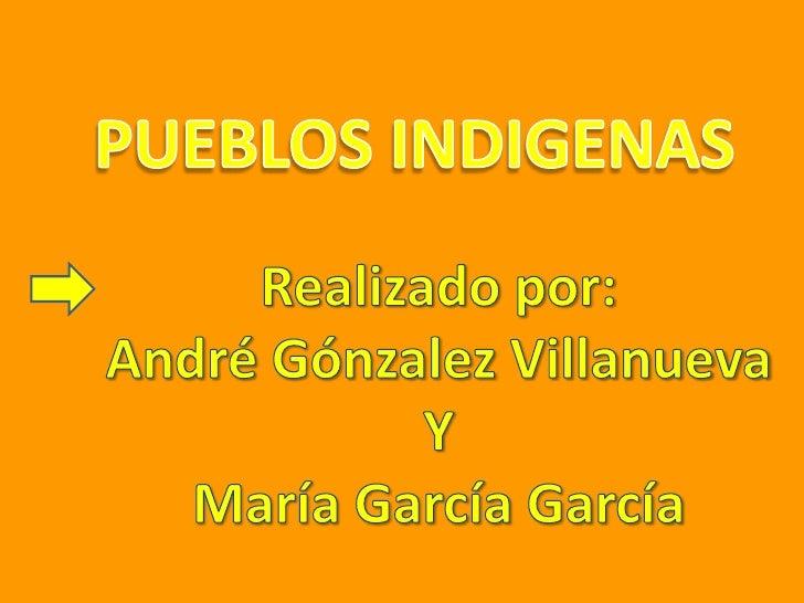 PUEBLOS INDIGENAS<br />Realizado por:<br />André Gónzalez Villanueva<br />Y<br />María García García<br />
