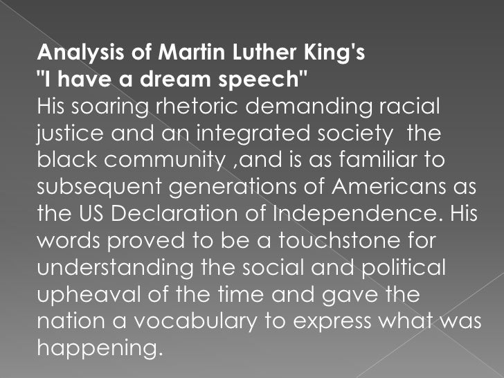 "the analysis of i have a Nancy duarte of duarte design has a look at martin luther king, jr's ""i have a dream speech"" and why it was so good: mlk's ""i have a dream"" speech is not only literarily brilliant, its structure follows the presentation form perfectly, by traversing back and forth between what is and."