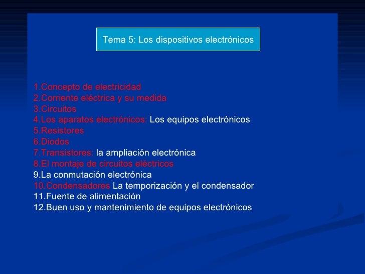 1.Concepto de electricidad 2.Corriente eléctrica y su medida 3.Circuitos 4.Los aparatos electrónicos:  Los equipos electró...