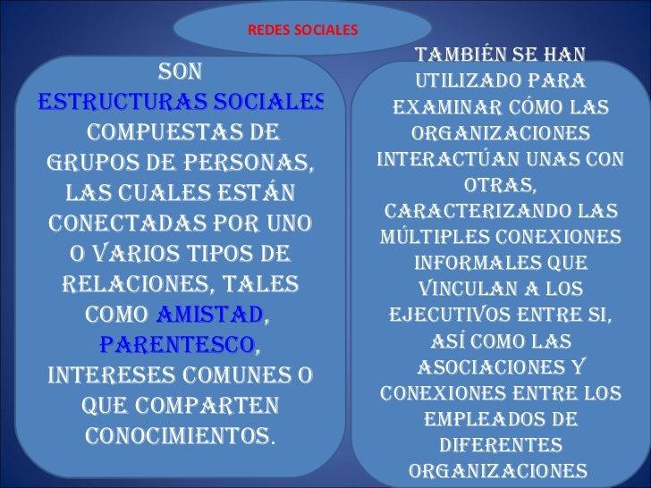 REDES SOCIALES son  estructuras sociales  compuestas de grupos de personas, las cuales están conectadas por uno o varios t...