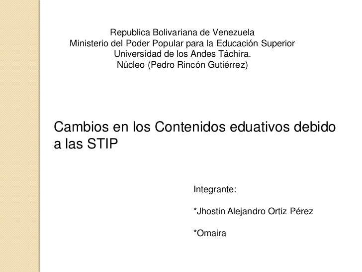 Republica Bolivariana de Venezuela<br />Ministerio del Poder Popular para la Educación Superior<br />Universidad de los An...