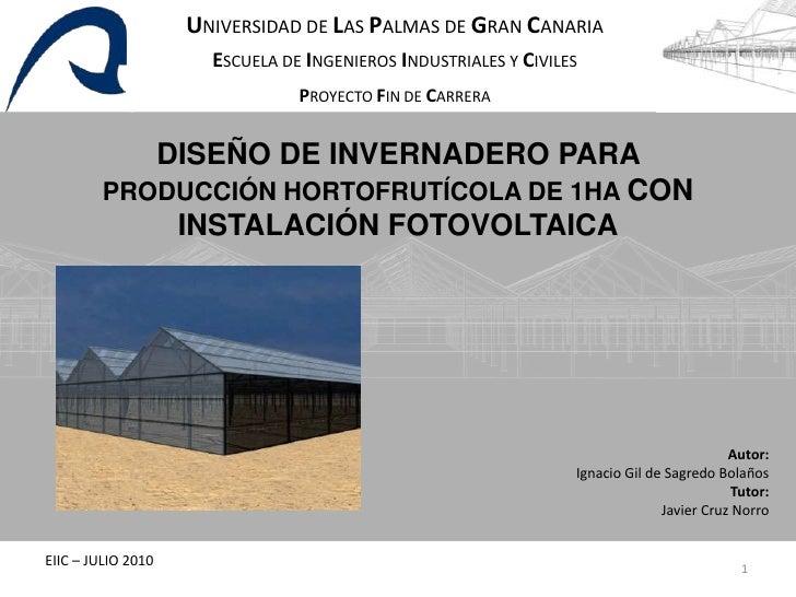 Pfc dise o invernadero fotovoltaico Diseno de invernaderos pdf