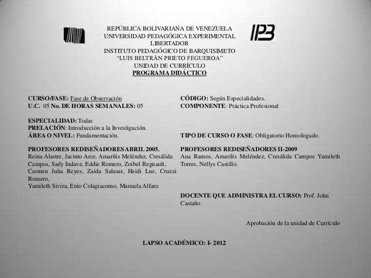 REPÚBLICA BOLIVARIANA DE VENEZUELA                           UNIVERSIDAD PEDAGÓGICA EXPERIMENTAL                          ...
