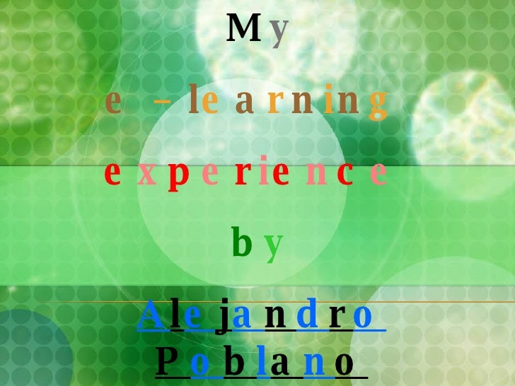 my e-learning experinece