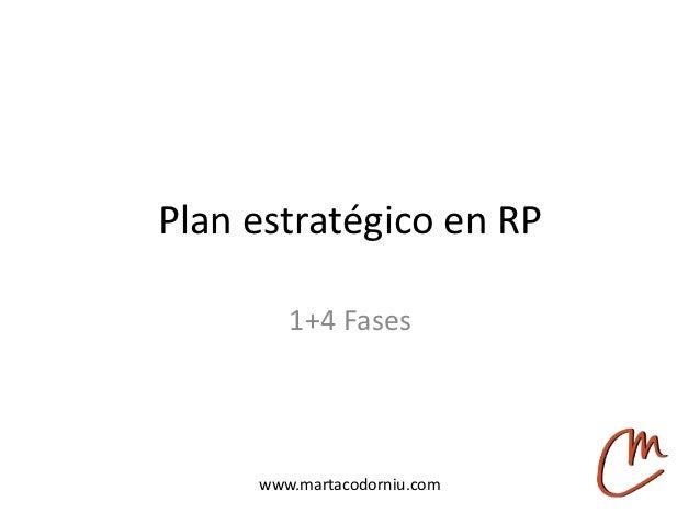 Plan estratégico en RP        1+4 Fases     www.martacodorniu.com