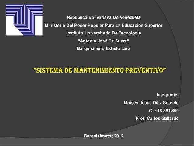República Bolivariana De VenezuelaMinisterio Del Poder Popular Para La Educación Superior         Instituto Universitario ...
