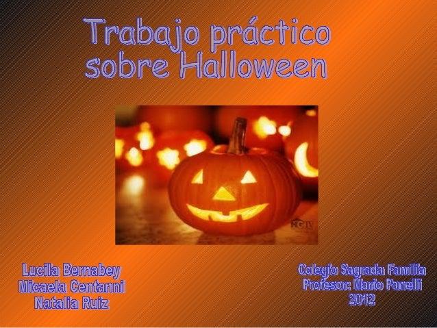 """Halloween significa """"All hallows eve"""", palabra que proviene del inglésantiguo, y que significa """"víspera de todos los santo..."""