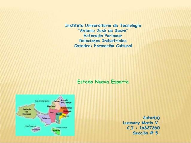 """Instituto Universitario de Tecnología      """"Antonio José de Sucre""""         Extensión Porlamar       Relaciones Industriale..."""
