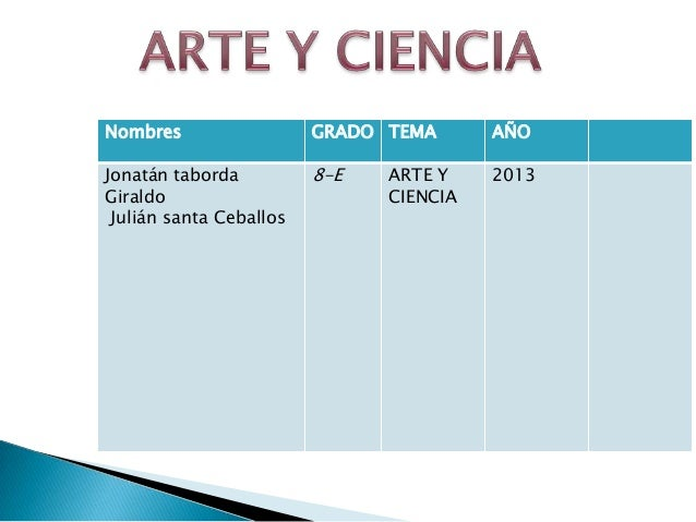 Nombres                  GRADO TEMA      AÑOJonatán taborda          8-E   ARTE Y    2013Giraldo                        CI...