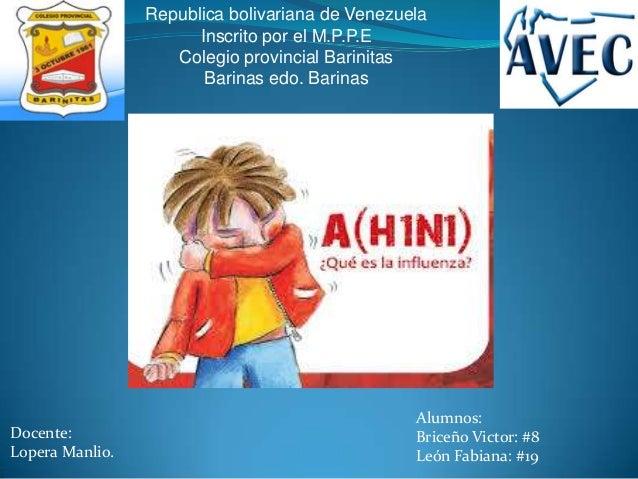 Republica bolivariana de VenezuelaInscrito por el M.P.P.EColegio provincial BarinitasBarinas edo. BarinasDocente:Lopera Ma...