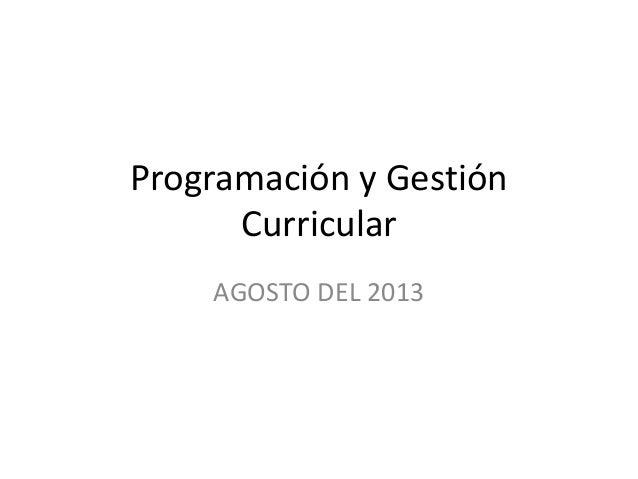 Programación y Gestión Curricular AGOSTO DEL 2013