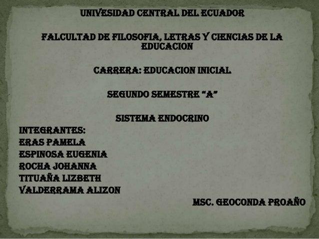 UNIVESIDAD CENTRAL DEL ECUADOR FALCULTAD DE FILOSOFIA, LETRAS Y CIENCIAS DE LA EDUCACION CARRERA: EDUCACION INICIAL SEGUND...