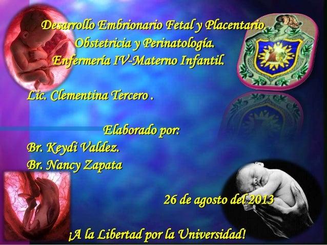 Desarrollo Embrionario Fetal y Placentario. Obstetricia y Perinatología. Enfermería IV-Materno Infantil. Lic. Clementina T...