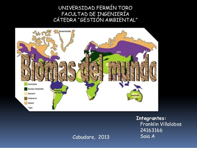 """UNIVERSIDAD FERMÍN TORO FACULTAD DE INGENIERÍA CÁTEDRA """"GESTIÓN AMBIENTAL""""  Cabudare, 2013  Integrantes: Franklin Villalob..."""