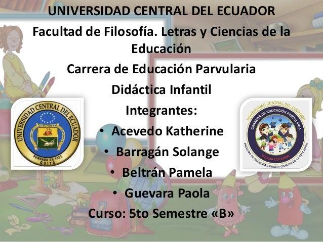UNIVERSIDAD CENTRAL DEL ECUADOR Facultad de Filosofía. Letras y Ciencias de la Educación Carrera de Educación Parvularia D...