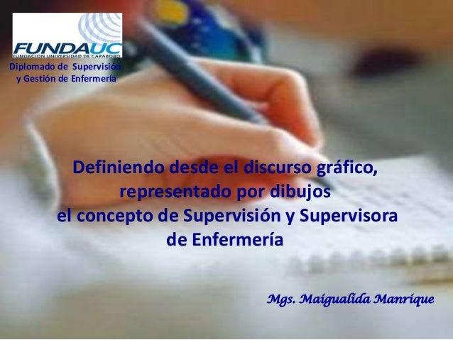 Diplomado de Supervisión y Gestión de Enfermería Mgs. Maigualida Manrique Definiendo desde el discurso gráfico, representa...