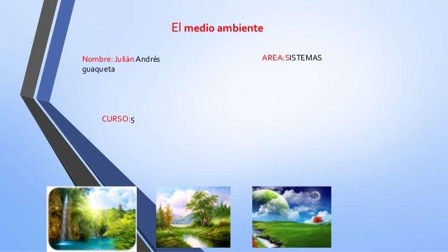 El medio ambiente Nombre: Julián Andrés guaqueta AREA:SISTEMAS CURSO:5
